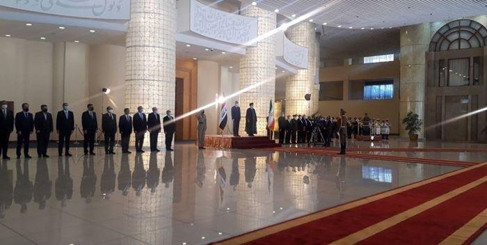 استقبال رسمی رییس جمهور از الکاظمی + عکس